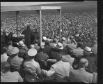 President Dwight Eisenhower giving a speech at the Garrison Dam closure ceremony, June 11, 1953