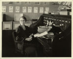 Miss Maud Brown, Director of Health Education in schools, at her desk at Demonstration Headquarters
