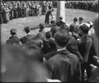 Crown Prince Olav of Norway at Bjornson Memorial Obelisk, North Dakota Agricultural College,...
