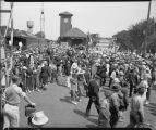 Crowds at arrival of Crown Prince Olav and wife Martha of Norway, Great Northern Depot, Fargo, N.D.