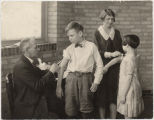 Dr. Kilbourne doing immunizations for diphtheria at the Child Health Demonstration Center, Fargo,...