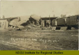 Damaged Northern Pacific Railroad buildings after tornado, Jamestown, N.D.