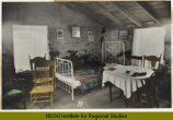 Interior of Elling O[h]nstad sod house, Fairdale, North Dakota, June 24, 1923