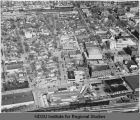 Aerial over western downtowna area, Fargo, N.D.
