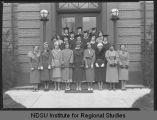 Senior Staff group on steps of Ceres Hall, North Dakota Agricultural College, Fargo, N.D.
