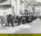 Nylon hosiery line outside Herbst Department Store, Fargo, N.D.