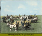 John McKay threshing outfit, Milton, North Dakota showing the threshing rig, the crew, the cook car,