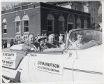 Coya Knutson, Clyde Duffy and Tom Barnes in a Fargo, N.D. parade