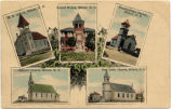 Photomontage of school and churches in Milnor, N.D.