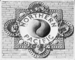 Northern Pacific emblem on depot in Fargo, N.D.