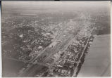 Aerial looking east over Northern Pacific Railroad tracks, Fargo, N.D.