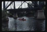 Canoeing on Sheyenne River under bridge