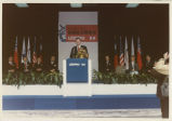 North Dakota Governor George A. Sinner giving speech at USPRO '86 in Taiwan