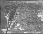 Aerial over flooded downtown Mandan, N.D.