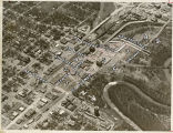 Aerial over downtown Moorhead, Minn.