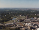 Aerial over downtown Fargo, N.D. and the Red River