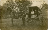 Two men seated in a horse-drawn buggy, Woodworth, N.D.