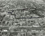 Aerial looking north over downtown Fargo, N.D. showing Urban Renewal area