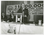 C. Warner Litten speaking at YMCA building fund campaign, Fargo, N.D.