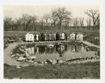 Staff and nurses by pond at Veterans Administration Medical Center, Fargo, N.D.