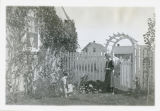 Mary Klinsman and Leone Johnson in the backyard of the Phi Omega Pi Sorority House, Fargo, N.D.